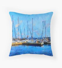 Boats on Ontario Lake on a Nice Sunny Summer Day Throw Pillow