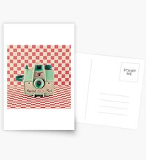 Mint Retro Camera on Red Chequered Background  Postcards