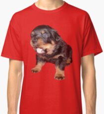 Rottweiler Puppy with Funny Cute Geeky Expression Classic T-Shirt