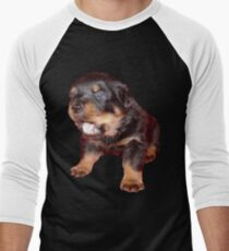 Rottweiler Puppy Isolated On Black Men's Baseball ¾ T-Shirt