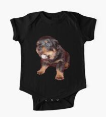 Rottweiler Puppy Isolated On Black One Piece - Short Sleeve