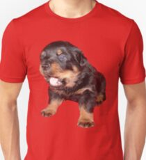 Rottweiler Puppy with Funny Cute Geeky Expression Unisex T-Shirt