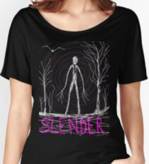 dark creepy slender man in forest on Halloween by Tia Knight Women's Relaxed Fit T-Shirt