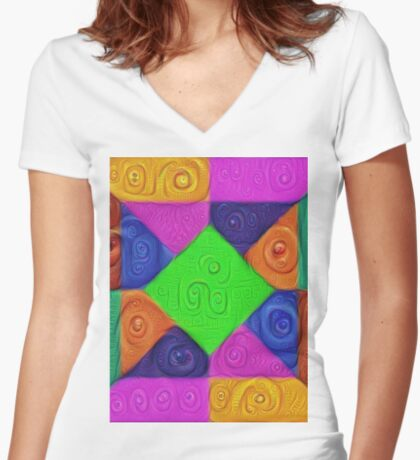 DeepDream Color Squares Visual Areas 5x5K v1448026462 Fitted V-Neck T-Shirt