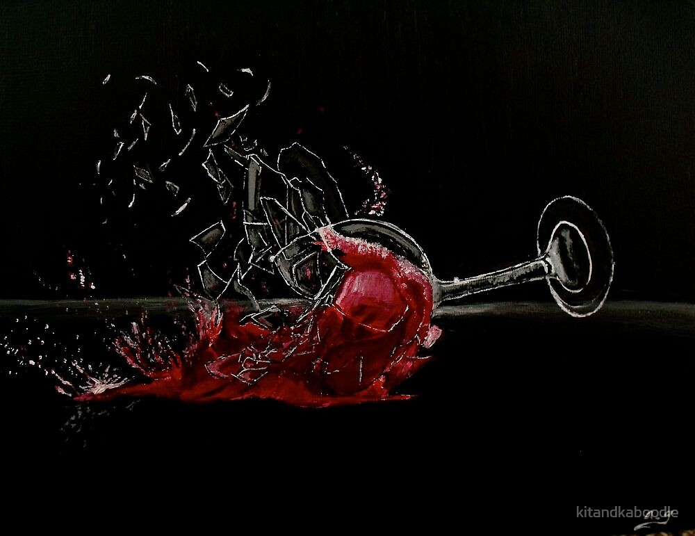 """Broken Glass, Spilt Wine"" by kitandkaboodle   Redbubble   Broken Wine Glass Painting"