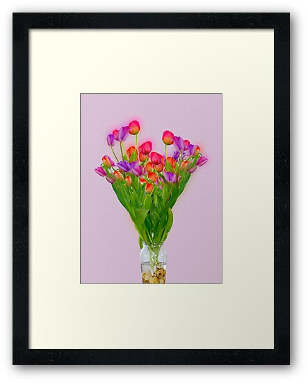 Tulips in a transparent glass vase by PhotoStock-Isra