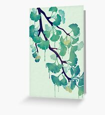 O Ginkgo (in Green) Greeting Card