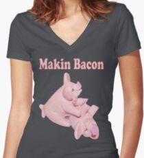 ✾◕‿◕✾ MAKIN BACON TEE SHIRT ✾◕‿◕✾ Women's Fitted V-Neck T-Shirt