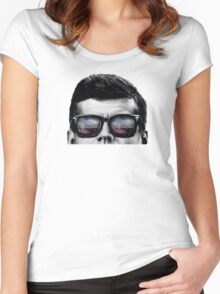 JFK Pop-Art t-shirt (black & White) Women's Fitted Scoop T-Shirt