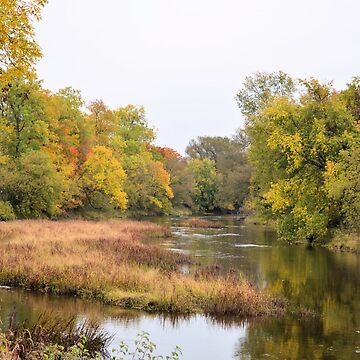 Slow river in autumn by marchello