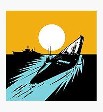 Submarine Boat Retro Photographic Print