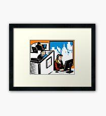 Telemarketer Office Worker Retro Framed Print