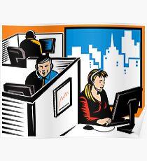 Telemarketer Office Worker Retro Poster