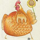 Sunflower Hen by busymockingbird