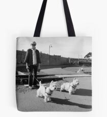 Woman with Two Dogs Tote Bag