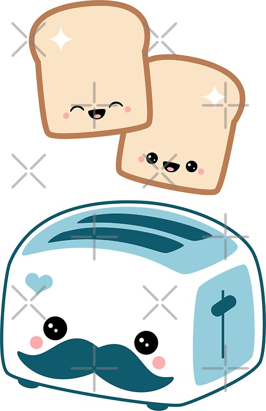 Quot Cute Mustache Toaster Quot Stickers By Sugarhai Redbubble