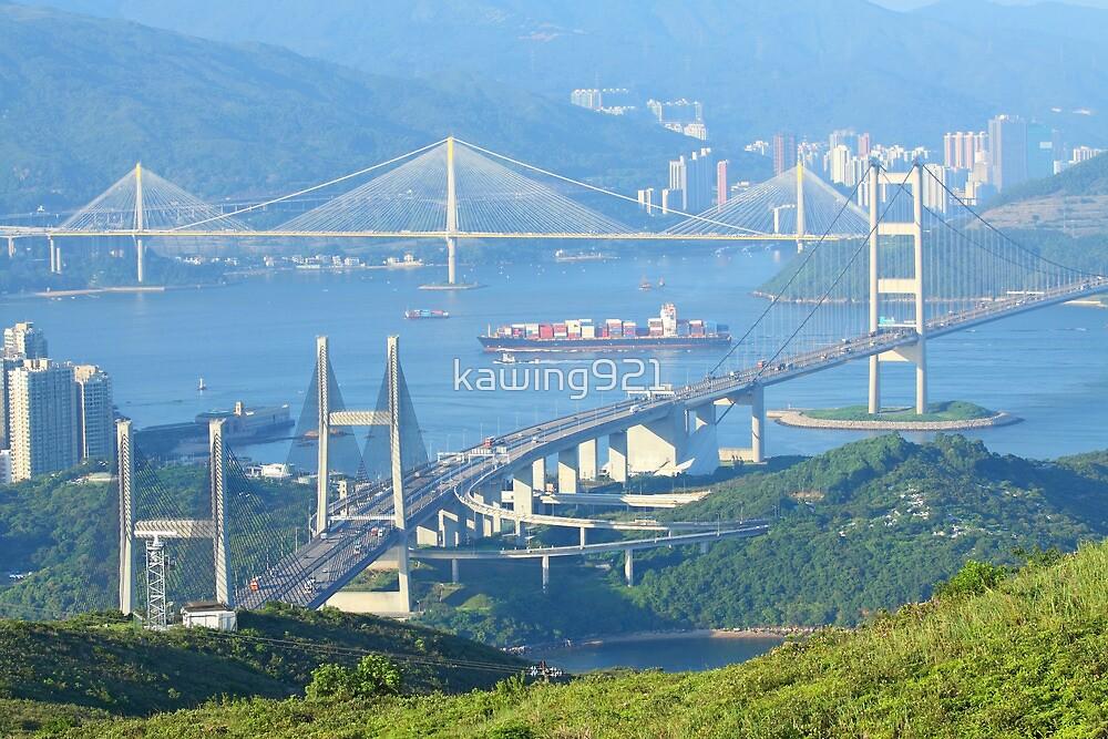 Three famous bridges in Hong Kong at day by kawing921