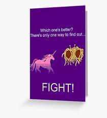 Invisible Pink Unicorn vs Flying Spaghetti Monster (dark) Greeting Card