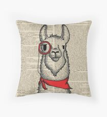 Llama with Monocle Throw Pillow