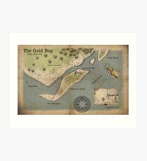 Poe - The Gold Bug - Map Art Print