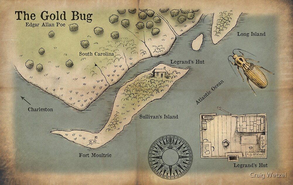 Poe - The Gold Bug - Map by Craig Wetzel