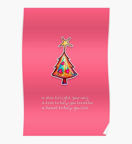 Christmas Card - Lolly Pink Wish Tree Poster