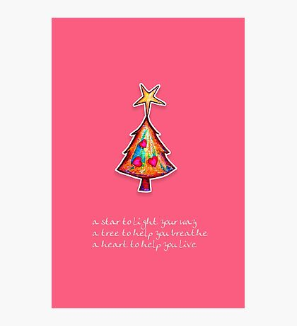 Christmas Card - Lolly Pink Wish Tree Photographic Print