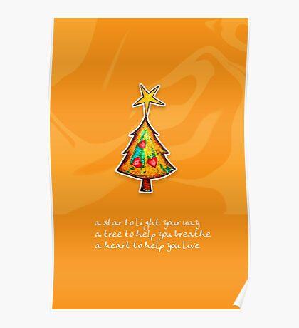 Christmas Card - Groovy Orange Wish Tree Poster
