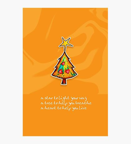 Christmas Card - Groovy Orange Wish Tree Photographic Print