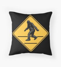 Caution! Bigfoot Crossing! Throw Pillow
