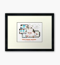 Three's Company Apartment Floorplan Framed Print