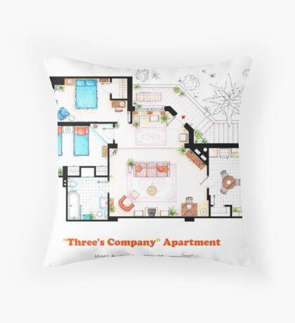 Three's Company Apartment Floorplan Throw Pillow