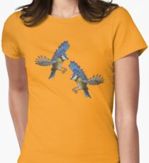 Free Birds, Flying Blue-Tits Illustration Womens Fitted T-Shirt