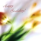 Impressionist Tulips Happy Birthday Card by LouiseK