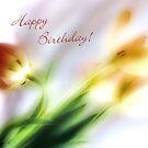 Impressionist Tulips Happy Birthday Card by LouiseK