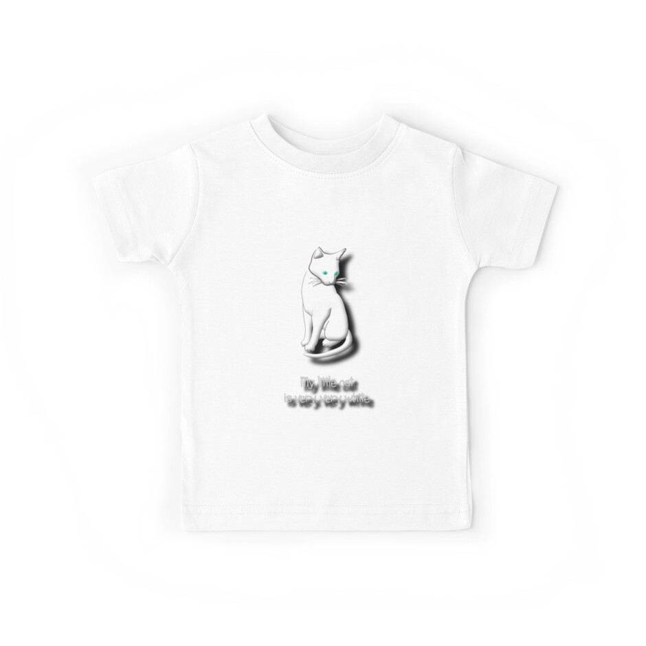 My Little Cat is Very, Very White T-shirt by Dennis Melling