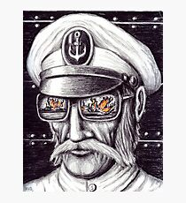 Captain colored pencils drawing Photographic Print