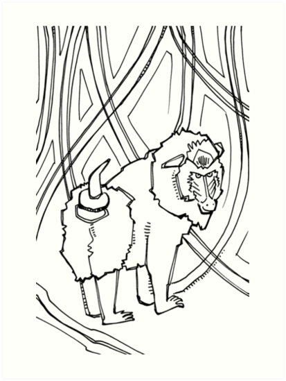 mandrill coloring book page
