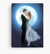 painting of love couple in moon light  Leinwanddruck