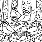 White-throated sparrow, coloring book page by Gwenn Seemel