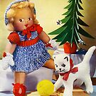 Knitted out for Christmas - Vintage Retro Card by Heather Buckley