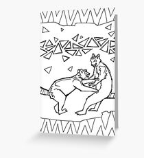 Ring-tailed lemur, coloring book page Greeting Card