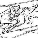 Lion, coloring book page by Gwenn Seemel