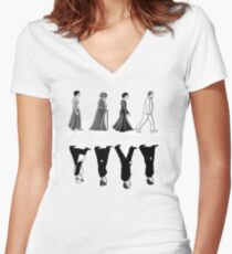 Downton Abbey Road Women's Fitted V-Neck T-Shirt