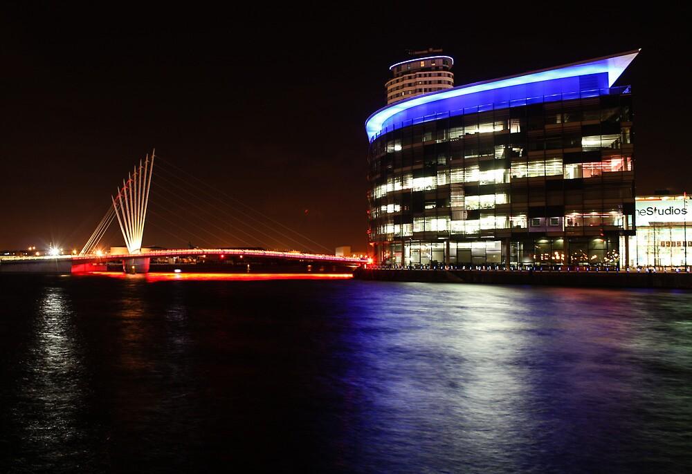 MediaCityUK and Media Bridge by Night by Ana Cunha
