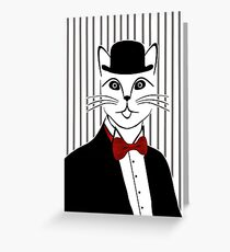 Fancy Cat with Bowler Hat and Tuxedo Greeting Card