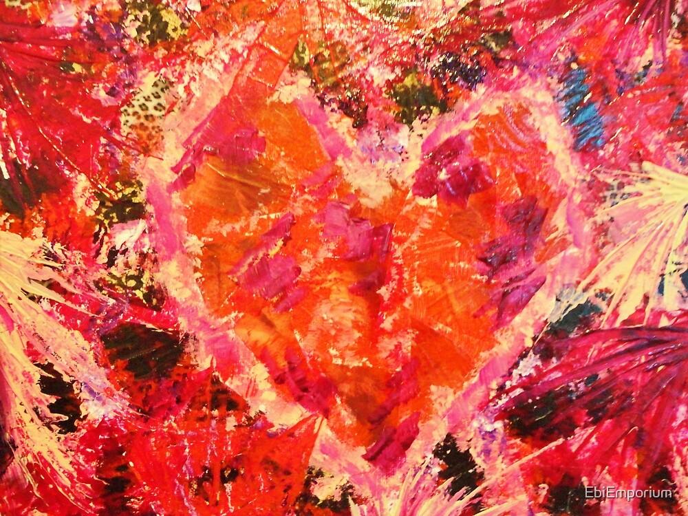 MEND ME - Broken Heart Abstract Artwork Bright Bold Crimson Magenta Black Leopard Print by EbiEmporium