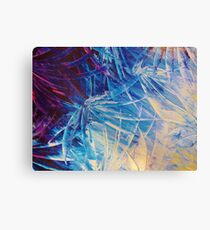 NIGHT FLOWERS - Beautiful Midnight Florals Feathers Eggplant Lilac Periwinkle Cream Modern Abstract Canvas Print