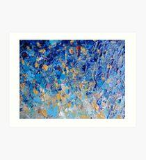 Lámina artística PUESTA DE SOL HIPNOTICA AZUL - Simplemente Hermosa Azul Real Azul Marino Turquesa Aqua Sunrise Naturaleza Abstracta Decoración
