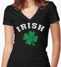 Vintage Irish Shamrock Women's Fitted V-Neck T-Shirt